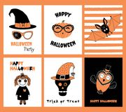 Set of Halloween greeting cards royalty free illustration
