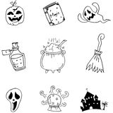 Set halloween with hand draw in doodle Stock Images