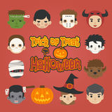 Set of halloween head , trick or treat , Royalty Free Stock Photos