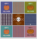 Set of halloween holiday greeting cards and  spooky patterns  Stock Photography