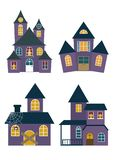 Set of Halloween Houses. Set of Halloween haunted houses isolated on white background vector illustration. Halloween houses collection vector cartoon