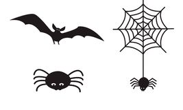 Set of Halloween icon symbols, spider hanging from web, spooky v royalty free illustration