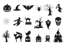Set of Halloween icons. SET OF DIFFERENT HALLOWEEN ICONS IN BLACK Stock Image