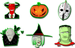 Set of Halloween  icons. Set of six different Halloween  icons with a witch, vampire, frankenstein monster, pumpkin and devil isolated on white Royalty Free Stock Images