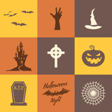 Set of halloween icons isolate on multicolor backgrounds. Flat design. Holiday party symbols - pumpkin, bat, witches hat Royalty Free Stock Photography