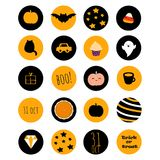 Set of 20 halloween icons with thematical stuff. Including bat, pumpkin, sweets and words. Great for stickers, scrapbooking, web buttons, bullet journals, etc Stock Illustration