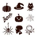 Set of Halloween icons. Halloween theme, set of scary holiday icons,  on white background, illustration Stock Images