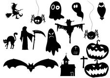 Set of halloween icons on white background Royalty Free Stock Photo