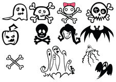 Set of halloween illustrations. Set of twelve illustrations on a halloween theme Stock Photography