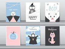 Set of Halloween invitations cards, poster, greeting, template, animals, Vector illustrations Royalty Free Stock Photos