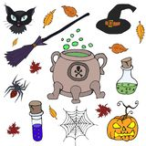 Set for Halloween isolated in colors. Hand drew Doodle royalty free illustration