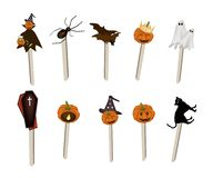 Set of Halloween Item and Monster on Wooden Sticks Royalty Free Stock Image