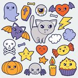 Set of halloween kawaii cute doodles and objects Stock Image