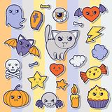 Set of halloween kawaii cute sticker doodles and Stock Photos