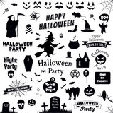 Set of halloween labels and elements. Vector illustration template Stock Photos