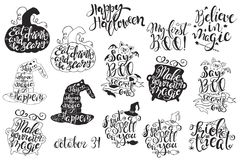 Set with Halloween labels with Hand drawn vector illustrations and quotes Royalty Free Stock Photo