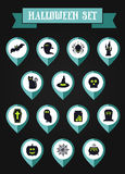 Set of halloween mapping pin icon Royalty Free Stock Photos