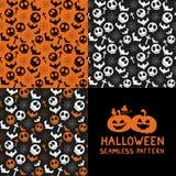 Set Halloween-nahtlose Muster Lizenzfreie Stockfotografie