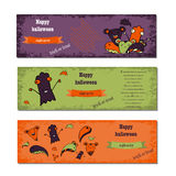 Set of Halloween night backgrounds with cute monsters.Three Halloween banners. Vector. Stock Photos