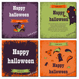 Set of Halloween night backgrounds with cute monsters.Three Halloween banners. Vector. Stock Photography