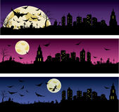 Set of Halloween night banners Royalty Free Stock Photography