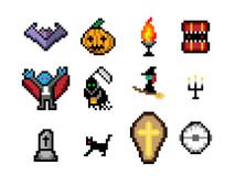 Set of Halloween object in pixel style for game. Vector design Royalty Free Stock Photography