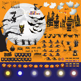 Set of Halloween objects and elements for your design. Royalty Free Stock Photos