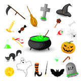 Set of Halloween objects isolated on white background Royalty Free Stock Photo