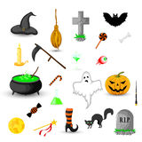 Set of Halloween objects isolated on white background Royalty Free Stock Images