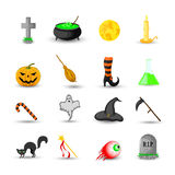 Set of Halloween objects isolated on white background Stock Images