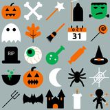 Set of halloween objects, pumpkins and lettering. Greeting card   for party and sale Royalty Free Stock Photos