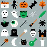 Set of halloween objects, pumpkins and lettering. Greeting card for party and sale Royalty Free Stock Image