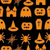 Set of halloween objects, pumpkins and lettering. Greeting card for party and sale Royalty Free Stock Photography