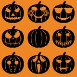 Set of halloween objects, pumpkins and lettering. Greeting card   for party and sale Stock Photography
