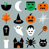 Set of halloween objects, pumpkins and lettering. Greeting card   for party and sale Stock Image