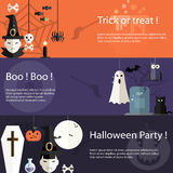 Set Halloween płaskiego projekta nowożytni sztandary Obraz Stock