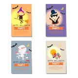 Set of Halloween party background cartoon character Royalty Free Stock Photo