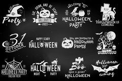 Set of Halloween party badges Stock Image