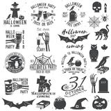 Set of Halloween party badges. Set of Halloween party concept with design elements. Halloween party retro templates, badges, seals, patches. Concept for shirt or Royalty Free Stock Images