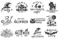 Set of Halloween party badges. Set of Halloween party concept. Halloween party retro templates, badges, seals, patches. Concept for shirt or logo, print, stamp Stock Photography