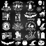 Set of Halloween party badges. Set of Halloween party concept on the chalkboard. Halloween party retro templates, badges, seals, patches with design elements Royalty Free Stock Images