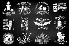 Set of Halloween party badges. Set of Halloween party concept on the chalkboard. Halloween party retro templates, badges, seals, patches. Concept for shirt or Stock Photography