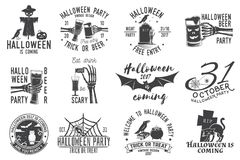 Set of Halloween party badges. Set of Halloween party concept. Halloween party retro templates, badges, seals, patches. Concept for shirt or logo, print, stamp vector illustration