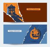 Set of Halloween party banners. Background with torn paper and space for text Stock Photography