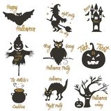 Set of Halloween party concept and design elements. Concept for print, shirt, stamp, badge Royalty Free Stock Photography