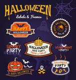 Set of Halloween party labels and frames design Stock Image