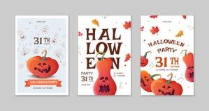 Set Halloween party poster. stock illustration