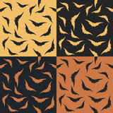 Set of halloween pattern with bat  silhouette Stock Images