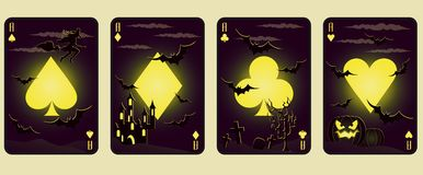 Set Halloween poker cards,  Royalty Free Stock Image