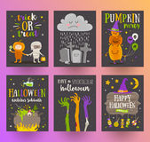 Set of Halloween posters or greeting card Stock Image